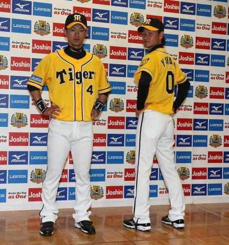 阪神 サードユニお披露目、黄色基調 上本「虎のイメージに合う」