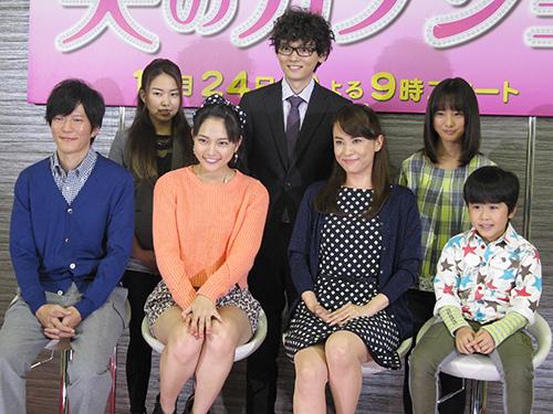 TBS「夫のカノジョ」制作発表会見に出席した(前列左から