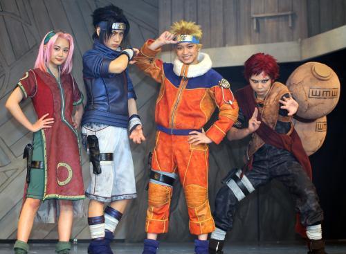 2.5次元ミュージカル「NARUTO」に出演する(左から)伊藤優衣、佐藤流司、松岡広大、須賀健太